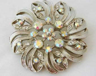 Aurora Borealis Brooch, Aurora Borealis Pin, Circle Brooch, Mid Century, 50s Brooch, Rhinestone, Silver Tone, Free Shipping