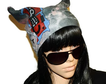 Halloween costume Hat women Hats patch Heavy metal Hat with cat Cats picture Pretty hat Hat cat ears Hat with horns Youth hat Unusual hat