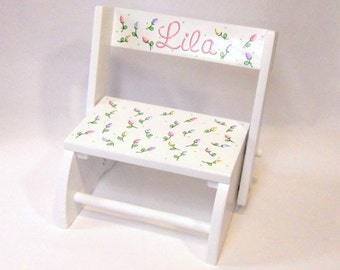 Child's Stool or Chair Pale Pastel Rosebuds Personalized