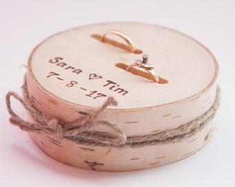 Rustic ring bearer pillow,  wedding wood slice, rustic ring box,  birch wedding decoration, wood wedding decor, ring pillow alternative,