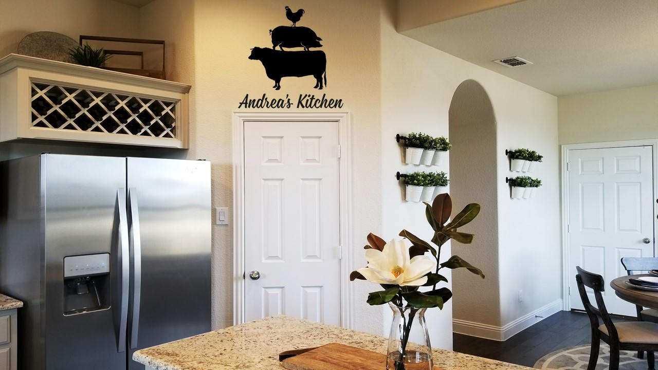 Farmhouse Kitchen Sign Wall Decal Cow Pig Chicken Wall