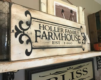 Farmhouse Personalized Family Aged Distressed Sign