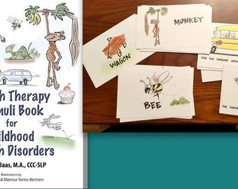 Speech Therapy Stimuli Book for Childhood Speech Disorders AND Flashcards