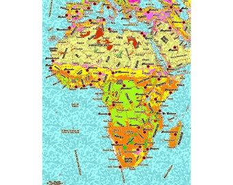 AFRICA Map 7G - Handmade Leather Journal / Sketchbook - Travel Art