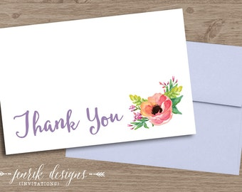 Wildflower Thank You Card ||  Flat 4x6 Card, Blank Back with White Envelopes