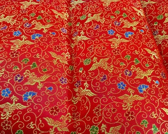 Red Satin Brocade Chinese Print Fabric | 24 by 28 inches | red, gold, blue and purple
