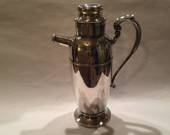 Vintage Silver Cocktail Shaker With Handle From The 1950's #299