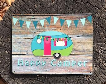 Happy Camper 9x12 Reclaimed Metal Sign, Vintage Camper, Glamper Sign, Metal Camper Sign