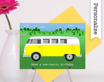 Camper Van Birthday Card, Campervan Card, Traveller Card, Camping Birthday Card, Camper Card, Boyfriend Birthday Card, Happy Camper Card