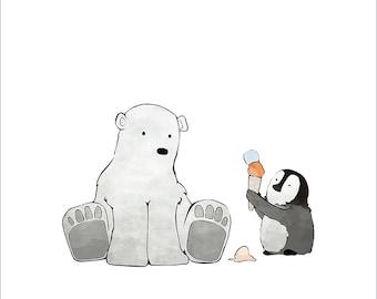 Arctic Animal Nursery - Polar Bear and Penguin Sharing some Ice Cream