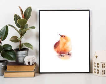 Minimalist Yellow Bird ORIGINAL Watercolor Painting, Bird Painting, Bird Art, painting of bird, modern painting
