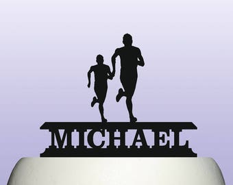 Personalised Acrylic Male Runner Athletics and Cross Country Running Cake Topper