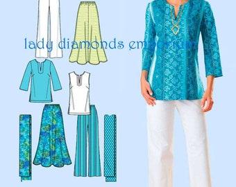 Simplicity 4149 Womens Skirt Pants Boho Tunic Top Scarf size 20W 22W 24W 26W 28W Bust 42 44 46 48 50 Easy Plus Size Sewing Pattern Uncut