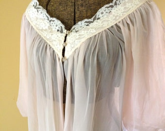 Vintage Peignoir Dressing Gown Pink Sheer  1960s by Radcliffe Women's Small Medium Beautiful