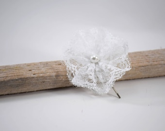 Flower white lace on hair clip