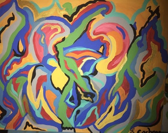 Original abstract bull fighter hand painted by Lynda Cochran 16 x 18