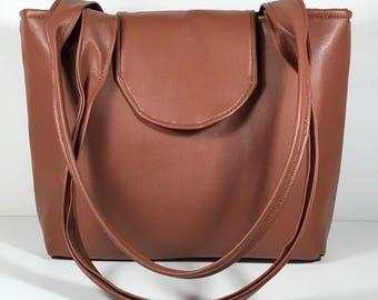 Purse Shoulder Bag Terra Cotta Brown Vinyl Medium-Sized Vegan Flap Double Straps Pockets Zipper Magnetic Snap