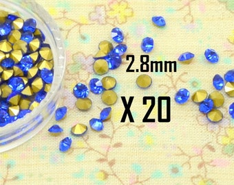 20 x bicone faceted Crystal round tapered cone blue 2.8 mm rhinestone cabochon