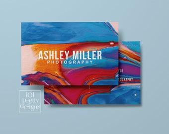 Watercolor business card abstract printable business card design colorful business cards custom business card paint makeup modern art
