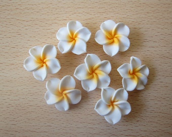 10 pcs Plumeria Frangipani Flower Polymer Clay Beads/Flatback 25mm