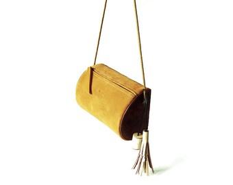 Khaki Suede Cross body Bag