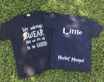 Custom HARRY P Themed Big Little Sorority Reveal tank top or shirt with  we solemnly swear we are up to no good