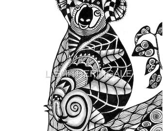 Zentangle-Inpired Koala Print - Unmatted