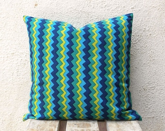 Indian Hand Print Pillow Covers - Lime Green and Blue Chevron Decorative Pillows Case 18 x 18 - 1 pair - ct97B