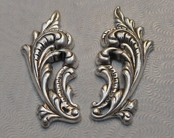 LuxeOrnaments Sterling Silver Plated Brass Stamping Ornate Leaves 33x13mm Left and Right (1 pair) T235-VJS F-352-S