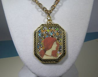 Mixed Media Red Haired Maiden Mosaic Necklace