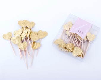 24 CT Gold Heart Cupcake Toppers Food Pick Cupcake Topper Party Decoration Gold Wedding  Engagement Gold Cupcake Topper Pink and gold party