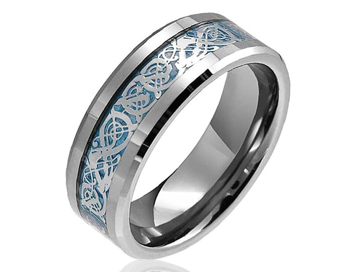 Celtic Dragons Ring  in Silver- Blue- Rose Gold - Yellow Gold Tungsten Carbide Welsh Wedding Band 8mm-Comfort fit - For Dad Him Her