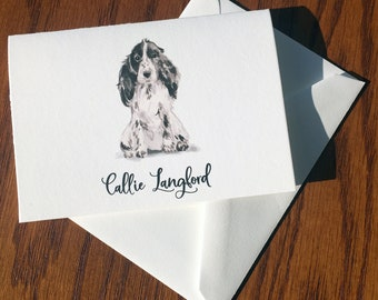 Cocker Spaniel Personalized Stationery, great gift for dog lovers, Cocker stationery set 100% Cotton Savoy, custom gifts for dog lovers