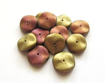 Matte Gold and Pink Wavy Ruffled Czech Glass Beads, 12mm - 12 pieces