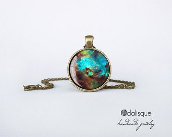 Galaxy necklace Nebula Pendant Seahorse Nebula Jewelry outer space turquoise keyring cb90