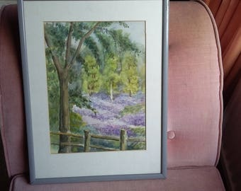 Original Watercolour Bluebells in Wood