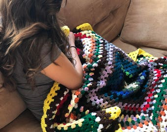 Granny square scrap crochet blanket