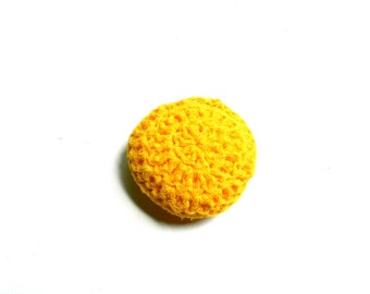 Dish Scrubbie/ Pot scrubber/ scouring pad/ cleaning buddy in Yellow nonabrasive all purpose nylon crochet sponge, approx 3.25 inch diameter