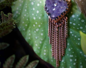 Ethereal Wonder - Amethyst Necklace - Electroformed Jewelry - Waterfall