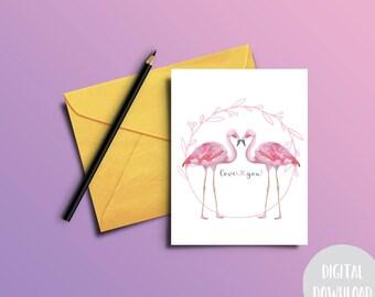 Downloadable Card   Print At Home   Digital Download   Flamingo Card
