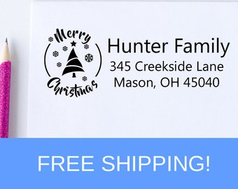 Merry Christmas Return Address Stamp - Christmas Self Inking Stamp -  Self Inking Address Stamp - Christmas Gift  (D311)