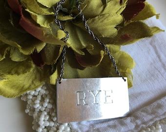 Sterling Rye Decanter Tag Silver Metal Liquor Vintage Label ~ #4997