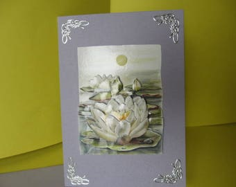 Card 3D (relief) water lilies and silver stickers
