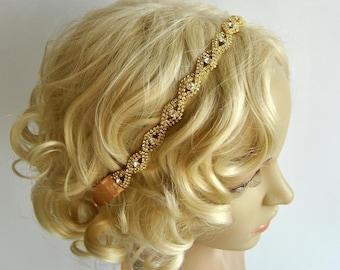 Gold Crystal Ribbon Headband, Wedding Headband, Bridal Rhinestone Headband, Ribbon Headband, Prom Headpiece
