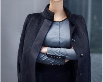 Woman's blouse, cotton shirt, ladies top, office blouse, grey, elegant blouse, woman's shirt, made to order