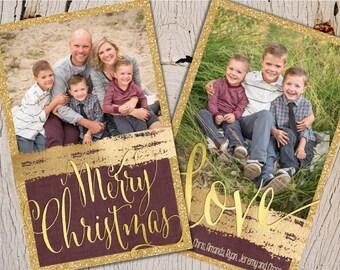 Gold Glitter Christmas Cards, Foil Christmas Cards, Burgundy Christmas Cards, Glitter Christmas Cards, Photo Christmas Cards, Christmas Card