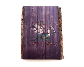 Notre Dame Leprechaun Rustic Wooden Sign - Notre Dame Fighting Irish Wood Wall Art - University of Notre Dame Football Wall Decor