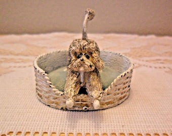Vintage FLORENZA Dog in Basket Pin Cushion Rhinestone Eyes
