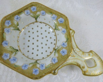 Antique Porcelain Tea Strainer Hexagonal Shape Blue Floral Flowers Nippon