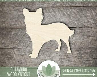 Chihuahua Wood Cut Out Shape, Unfinished Wood Chihuahua Laser Cut Shape, DIY Craft Supply, Many Size Options, Blank Wood Shapes